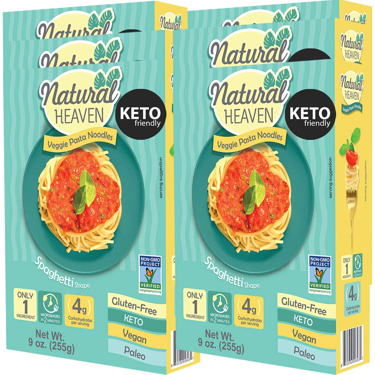 Natural Heaven 6 Spaghetti Hearts of Palm Noodles - 6 Packs of 9 oz - Low Carb, Gluten Free, Keto Friendly, Vegan, Paleo, Non Gmo, High Fiber, Plant Based, 6 Count by Natural Heaven