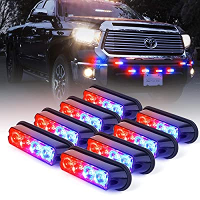 Xprite Red & Blue 4 LED 4 Watt Surface Mount Deck Dash Grill Grille Strobe Lights Warning Police Light for Emergency Vehicle - 8 Pieces: Automotive