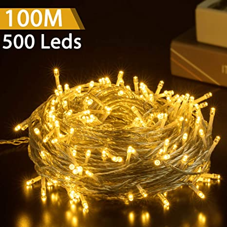500 LED 50M Warmweiß Innen Außen Party Lichterkette Weihnachtsbeleuchtung Deko