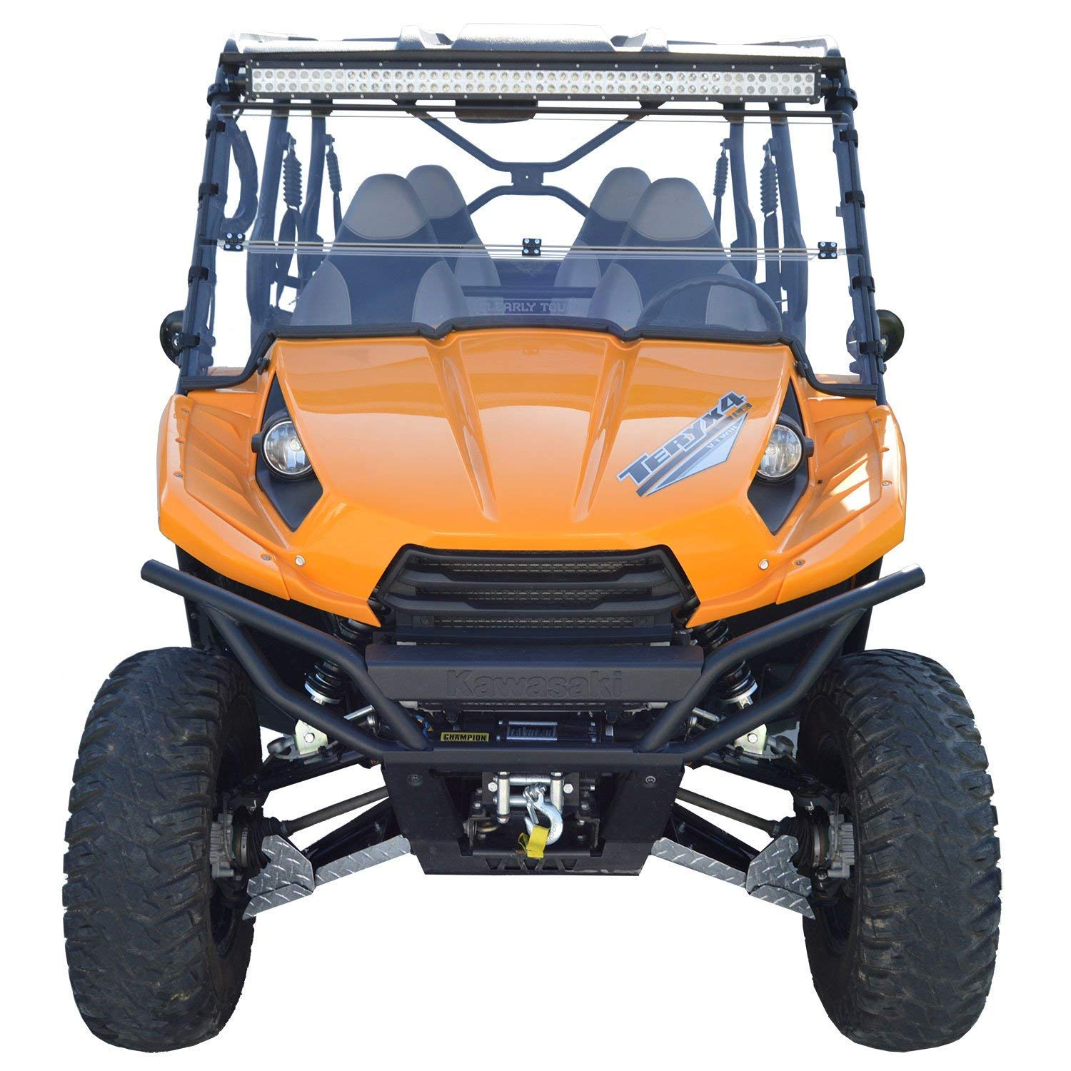 12-14 Full Folding Kawasaki Teryx 4 Windshield SCRATCH RESISTANT The Ultimate in Side By Side Versatility!Premium polycabonate w//Scratch Resistant Hard CoatMade in America!!