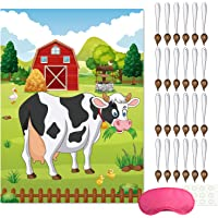 FEPITO Pin The Tail on The Cow Birthday Party Game with 24 Pcs Tails for Farm Party Decorations, Kids Birthday Party…