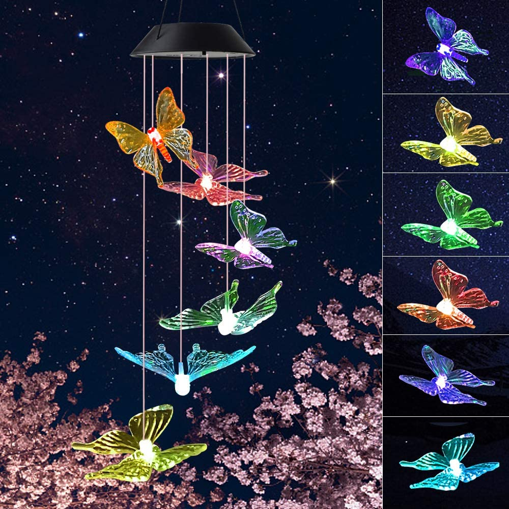 JOBOSI Wind Chimes,Clear Butterfly Wind Chimes,Wind Chimes Outdoor/Indoor,Garden Decor,Room Decor, Gifts for mom, Mother's Birthday Gifts, Butterfly Gift