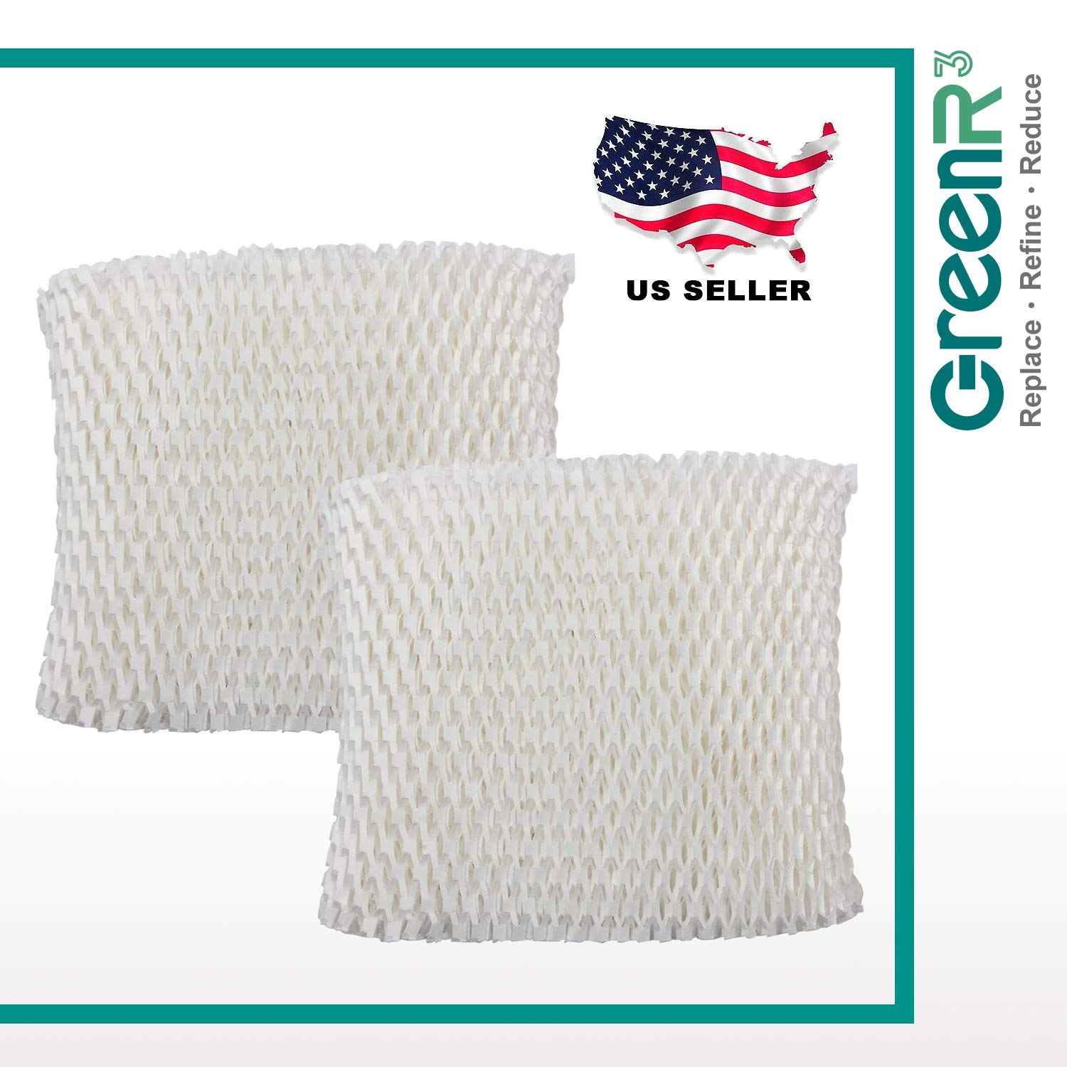 GreenR3 2-Pack Replacement Wick Filters for Honeywell HC-888 Fits HCM890 HCM890C HCM890-20 HCM-890 HCM-890-C HCM-890-20 Duracraft DCM200 DH890C HCM890 DH888 DH890 Idylis 157855 D88-ID Humidifiers