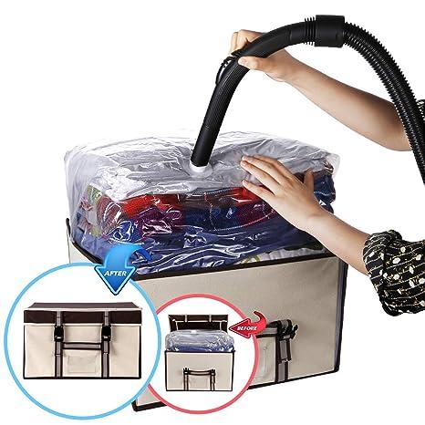 ISENPENK Bolsa al Vacío con Caja de Almacenamiento Reutilizables Caja de Almacenaje con Hebillas Bolsas al Vacío Protector para para Edredones, ...