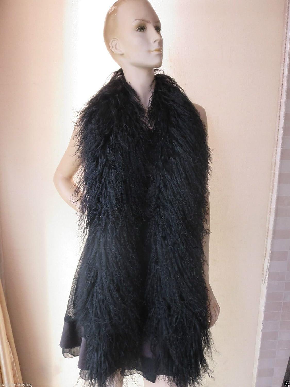 Real Mongolian Lamb Fur Scarf Black Overlength Warm