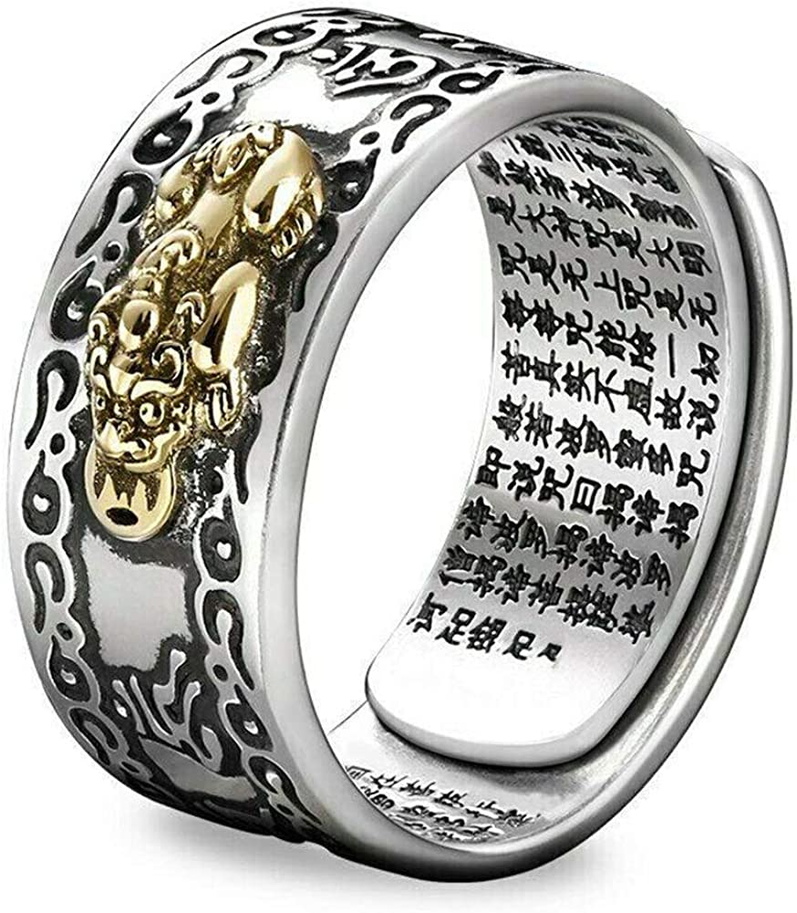ZOOARTS Adjustable FENG Shui PIXIU MANI Mantra Protection Wealth Ring