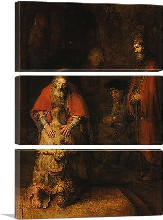 ARTCANVAS The Return of The Prodigal Son 1669 Canvas Art Print by Rembrandt Van Rijn – 90 x 60 1.50 Deep 3-Piece