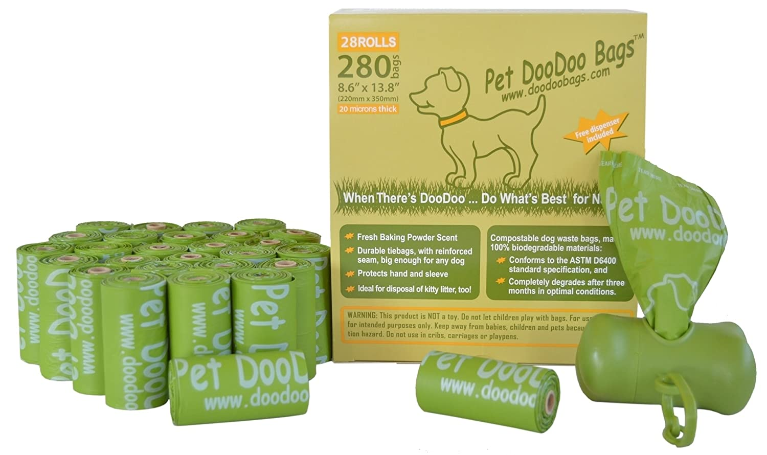 28 Rolls (280 Bags) Compostable Pet DooDoo Bags, ASTM D6400 / EN 13432 Approved, Free Dispenser Included