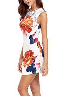 84835ca8aa2 Floerns Women s Floral Print Sleeveless Sexy Bodycon Cocktail Party Round  Neck Summer Dresses