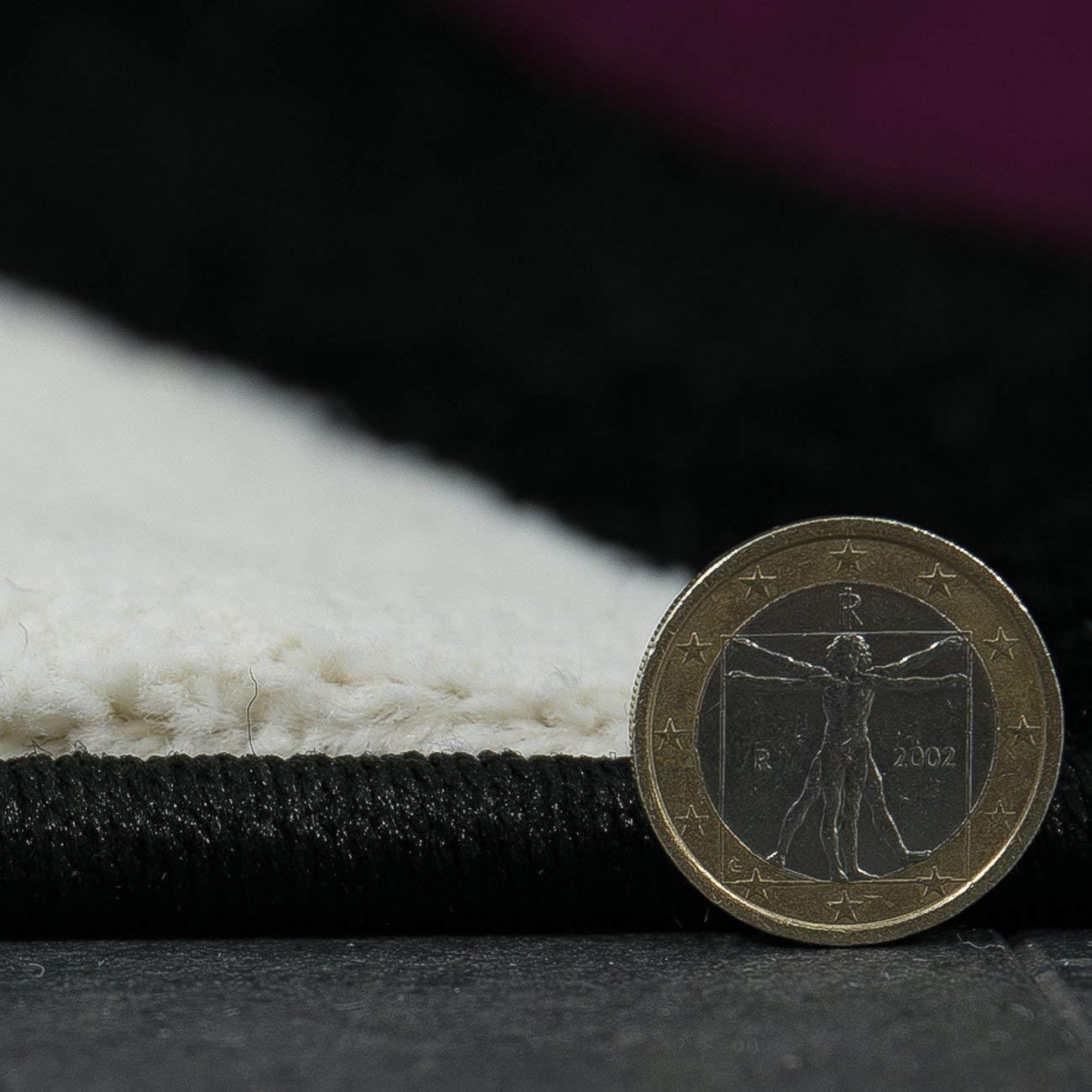 80x150 cm test/é de Oeko-Tex Noir Vimoda Salon Tapis Moderne Noir Vert Vagues Motif Handcarved Moelleux Souple countours de d/écoupe