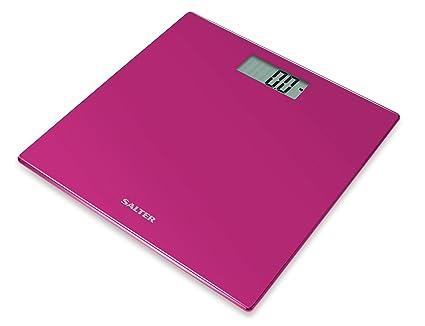 Salter Coloured Glass - Báscula de baño digital, 180 kg, color rosa
