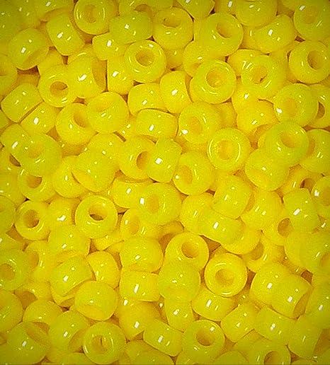 Bright Yellow Mini Pony Beads made in USA 1,000pc crafts school kandi jewelry