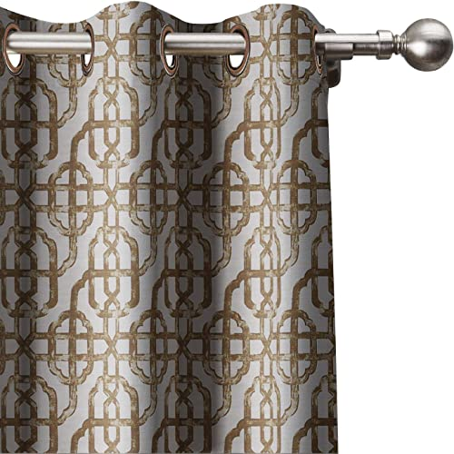 ChadMade Extra Wide Curtain Geometric Trellis Print Window Curtains 120 W x 102 L, Antique Bronze Grommet Modern Lattice with Blackout Lining 1 Panel , Java