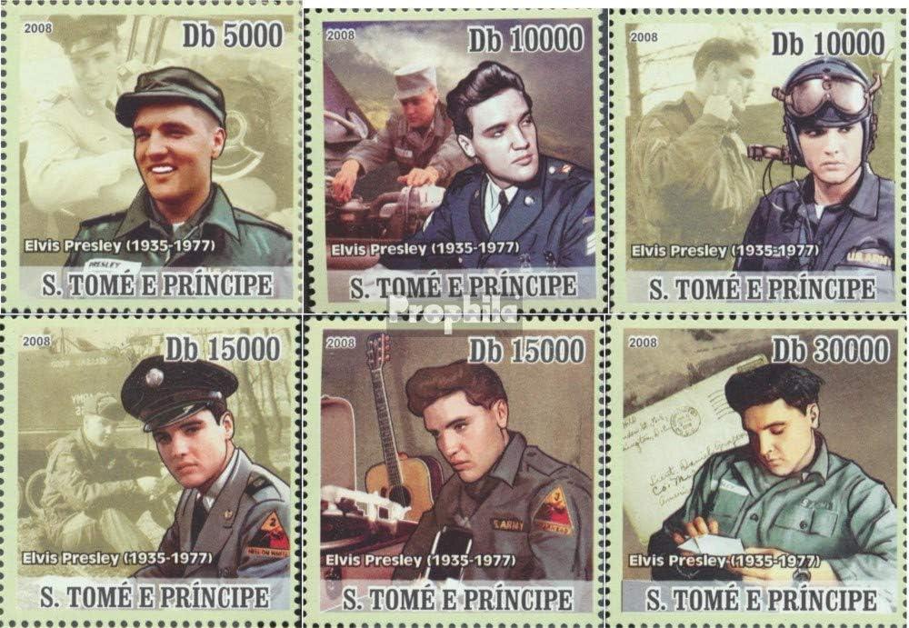 Prophila Collection Sao Tome e príncipe 3395-3400 (Completa.edición.) 2008 Elvis Presley en Militar (Sellos para los coleccionistas) Música / Bailar
