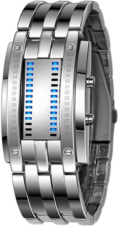 Reloj de pulsera - SODIAL(R)Reloj de pulsera LED de fecha digital de aleacion para hombres (LED azul / pulsera de color de plata)