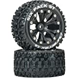"""Duratrax DTXC3560 Six Pack RC Staduim Truck Tires with Foam Inserts, C2 Soft Compound, ST 2.8"""" Mounted on Back Black Wheels (2 Tires)"""