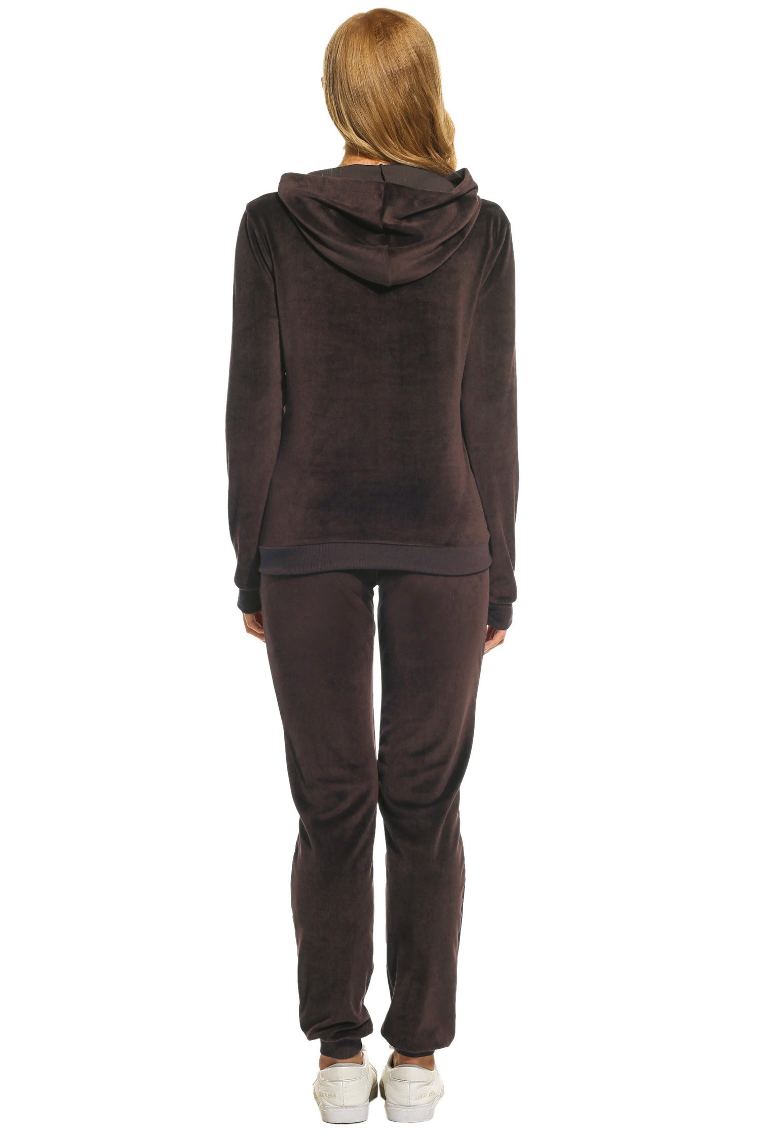 Hotouch Women's Sweatsuit Set Velour Hoodie and Track Pants Coffee L by Hotouch (Image #4)