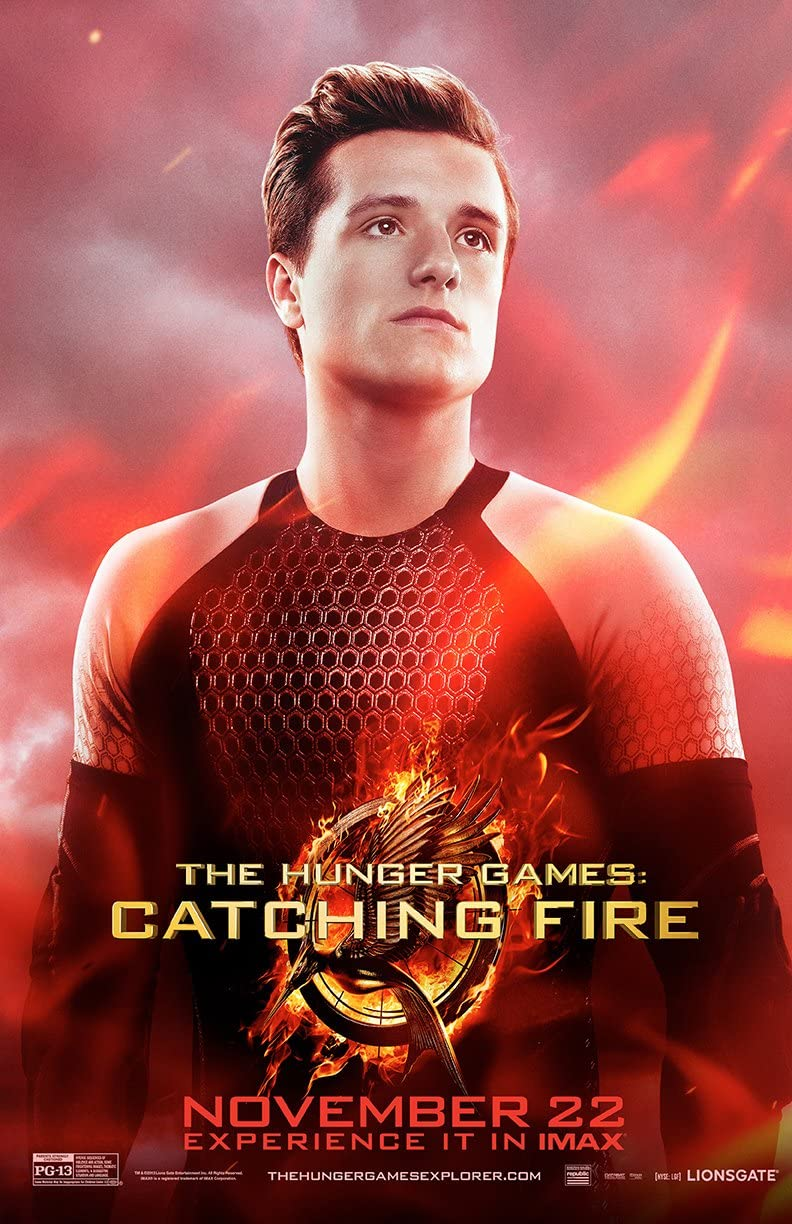 Amazon Com Movie Poster The Hunger Games 2 Catching Fire 2013 Peeta Red 13 In X 19 In Flyer Borderless Free 1 Tile Magnet Posters Prints