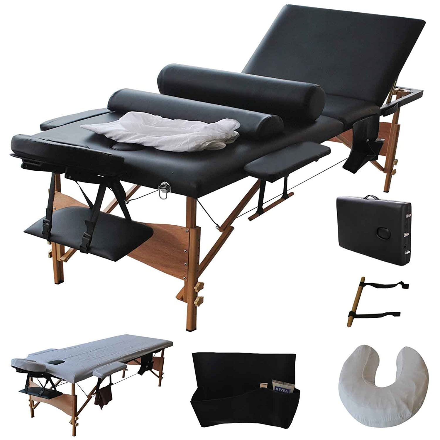 Reinforcement 84 L Professional Massage Table, Adjustable Portable Folding Massage Bed for Salon Beauty Physiotherapy Facial SPA Tattoo Household 3 Section, Black