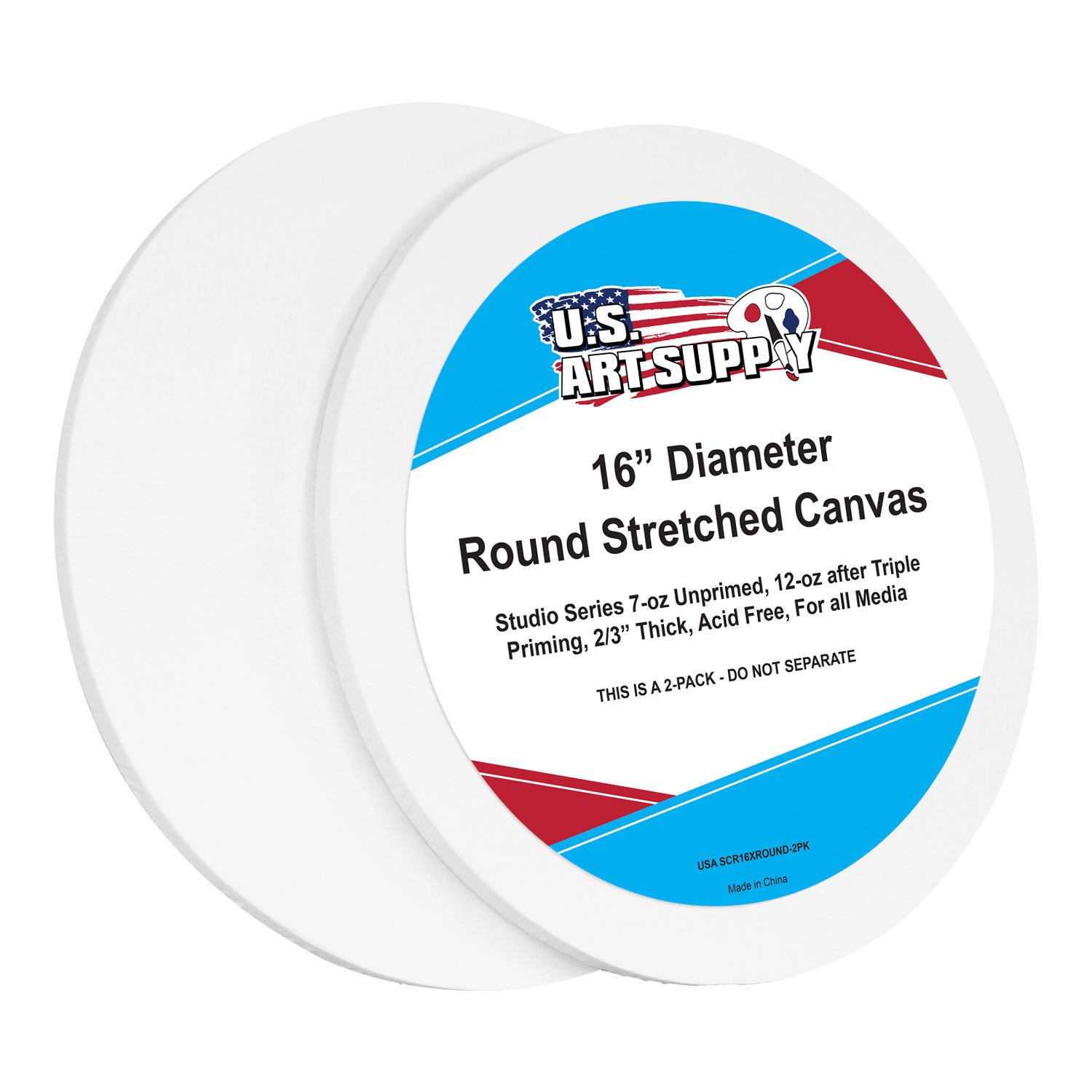 U.S. Art Supply 16 Inch Diameter Round 12 Ounce Primed Gesso Professional Quality Acid-Free Stretched Canvas (Pack of 2)