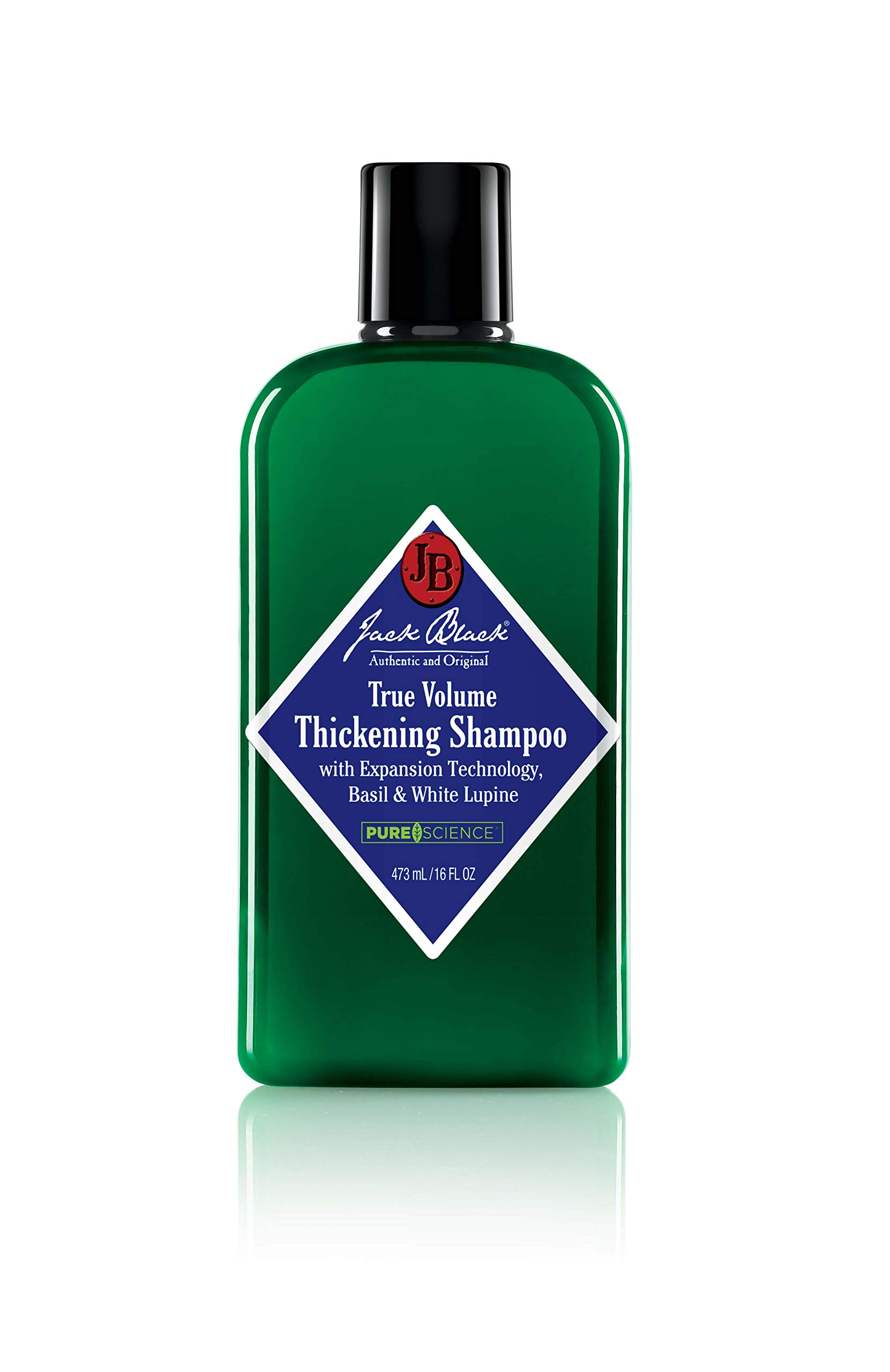JACK BLACK - True Volume Thickening Shampoo - PureScience Formula, Expansion Technology, Basil & White Lupine, Sulfate-Free Shampoo,and Product Build-Up, Helps Thicken Hair, 16 oz by Jack Black