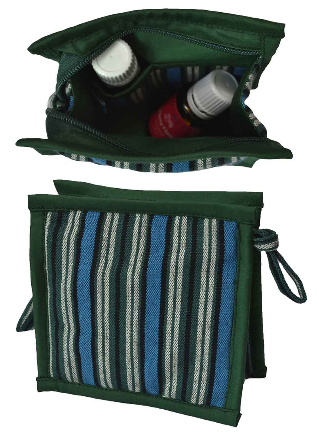 Small Essential Oils Storage Case | Protects 6 Oils: 5mL - 10mL & 15mL | Travel Bag for Purse | Holds doTERRA, Now & Young Living Oils | Compact Essential Oils Organizer for Women & Kids (Blue-Green)