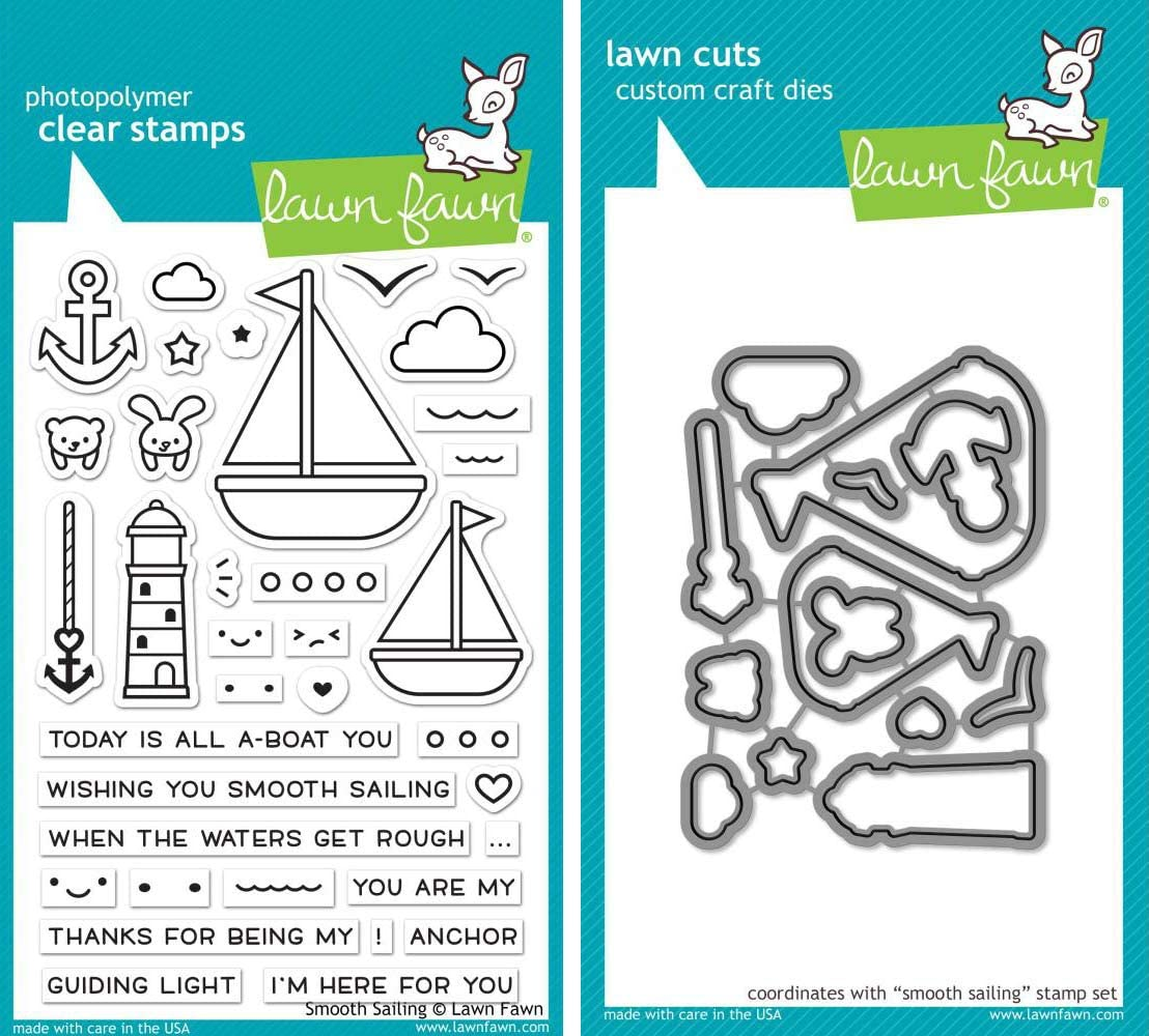 Lawn Fawn - Smooth Sailing Stamps Set and Dies Set - 2 Item Bundle