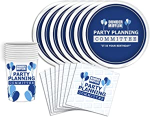 Silver Buffalo The Office Planning Committee Party Tableware Set, 60-Piece, Blue and White