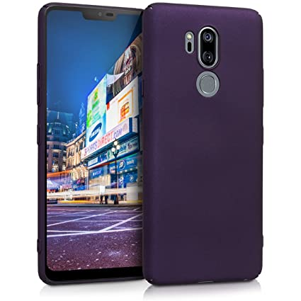 kwmobile Case for LG G7 ThinQ/Fit/One - Hard Plastic Anti Slip Grip Shockproof Protective Phone Cover - Metallic Berry