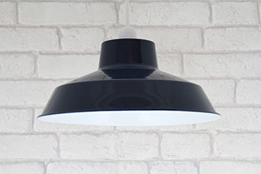 12 navy blue retro small metal coolie glossy lampshade ceiling 12quot navy blue retro small metal coolie glossy lampshade ceiling pendant modern light fitting mozeypictures Images