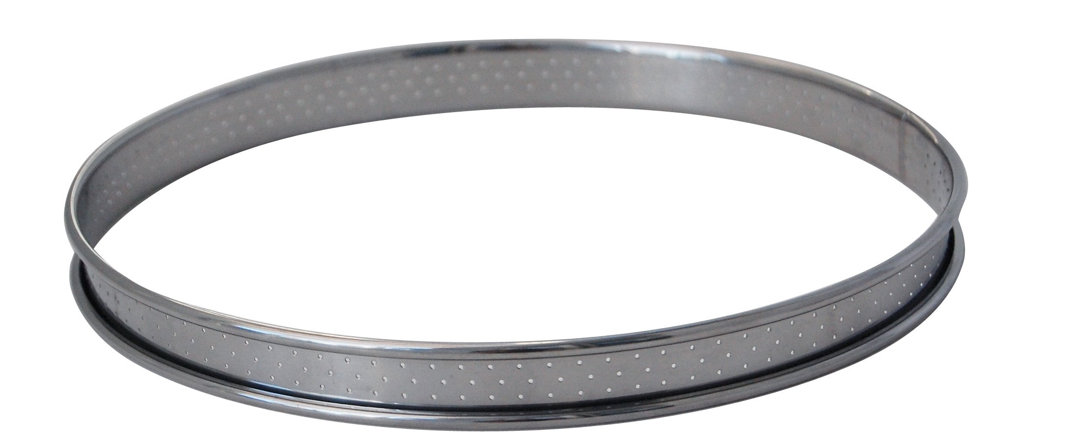 De Buyer Stainless Steel Round Tart Ring with Perforated Rounded-Off Edges, Silver