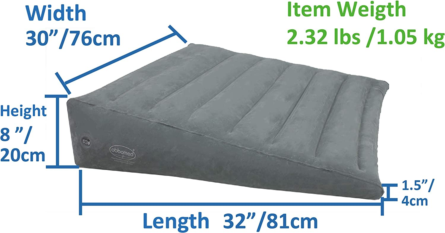 "ObboMed HR-7660, New & Handy Air Valve for Easy Inflation/Deflation Heavy Duty, ""Large"" Inflatable Portable Bed Wedge Pillow with Velour Surface ..."