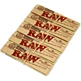 RAW CONNOISSEUR 5 booklets King Size Natural UNREFINED Hemp Rolling papers ORGANIC with TIPS