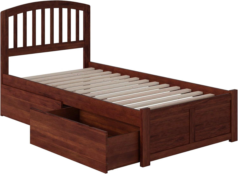 Atlantic Furniture Richmond Platform Bed with 2 Urban Bed Drawers, Twin XL, Walnut