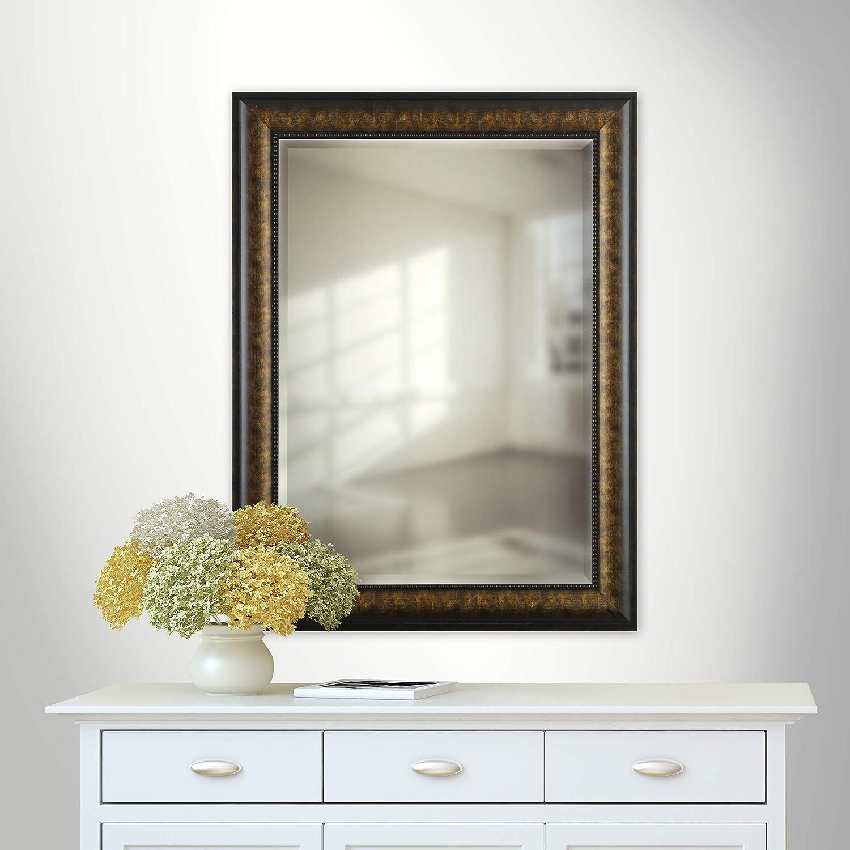 Rectangle Bedroom Mirrorize Canada Antique Bronze//Gold Beaded Inner Edge Wall Mirror Vanity,Hallway,Bathroom 25X33|Bronze//Gold Large Bevelled Mirror