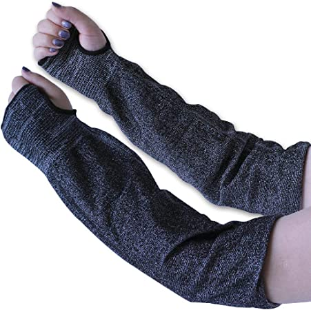 Slash Resistant Sleeves with Thumb Slot Helps Prevent Scrapes Scratches Skin Irritations UV-Protection Level 5 Protection 1 Pair Cut Resistant Sleeves 14-Inch Cut Resistant Knit Sleeves