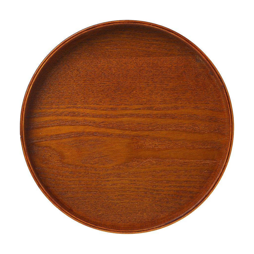 Fafalloagrronnatural plaque ronde en bois Thé Fruits Nourriture Bakery Plateau de service Vaisselle Plateau NEUF 21 marron