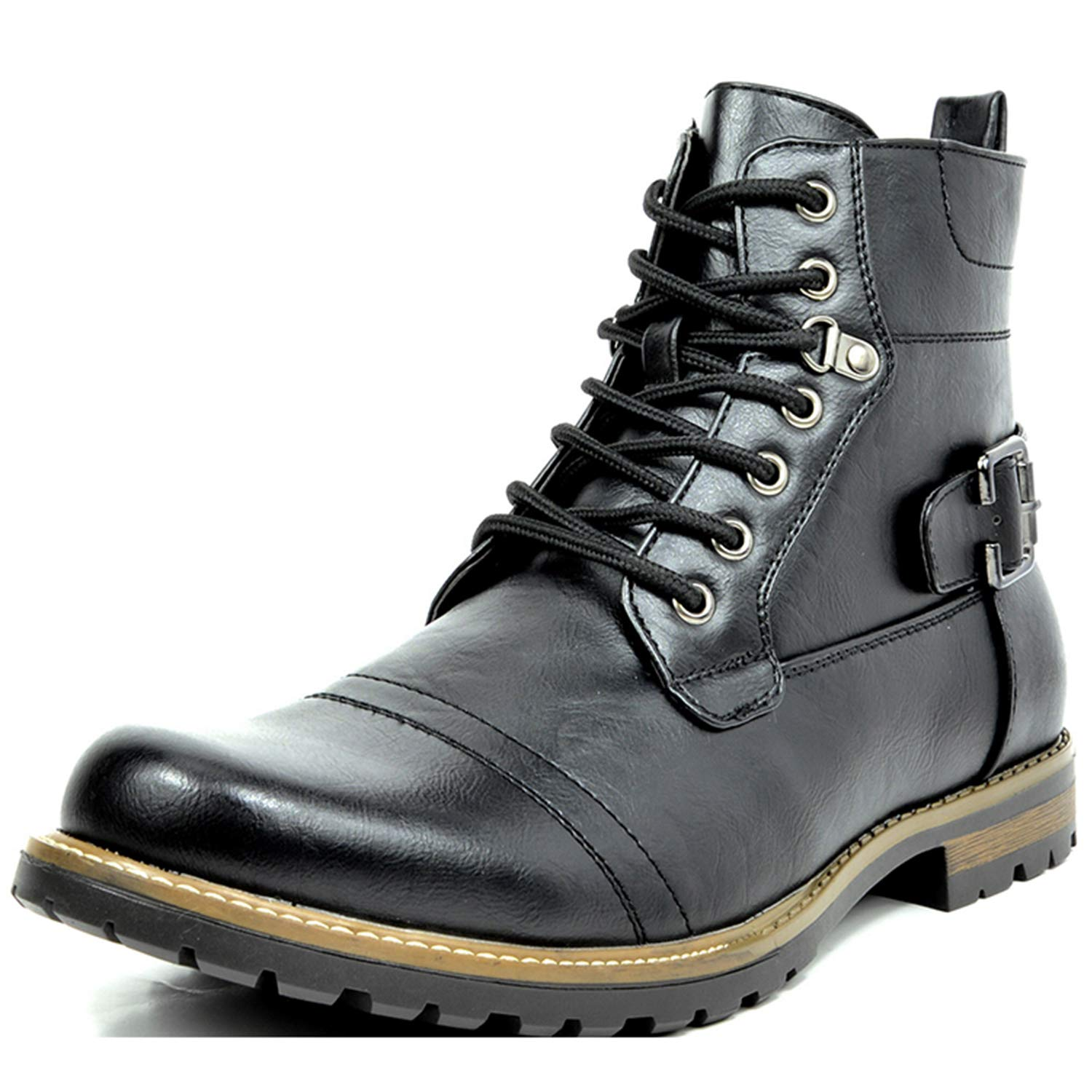Steampunk Boots and Shoes for Men Bruno Marc Mens Military Motorcycle Combat Boots $39.99 AT vintagedancer.com