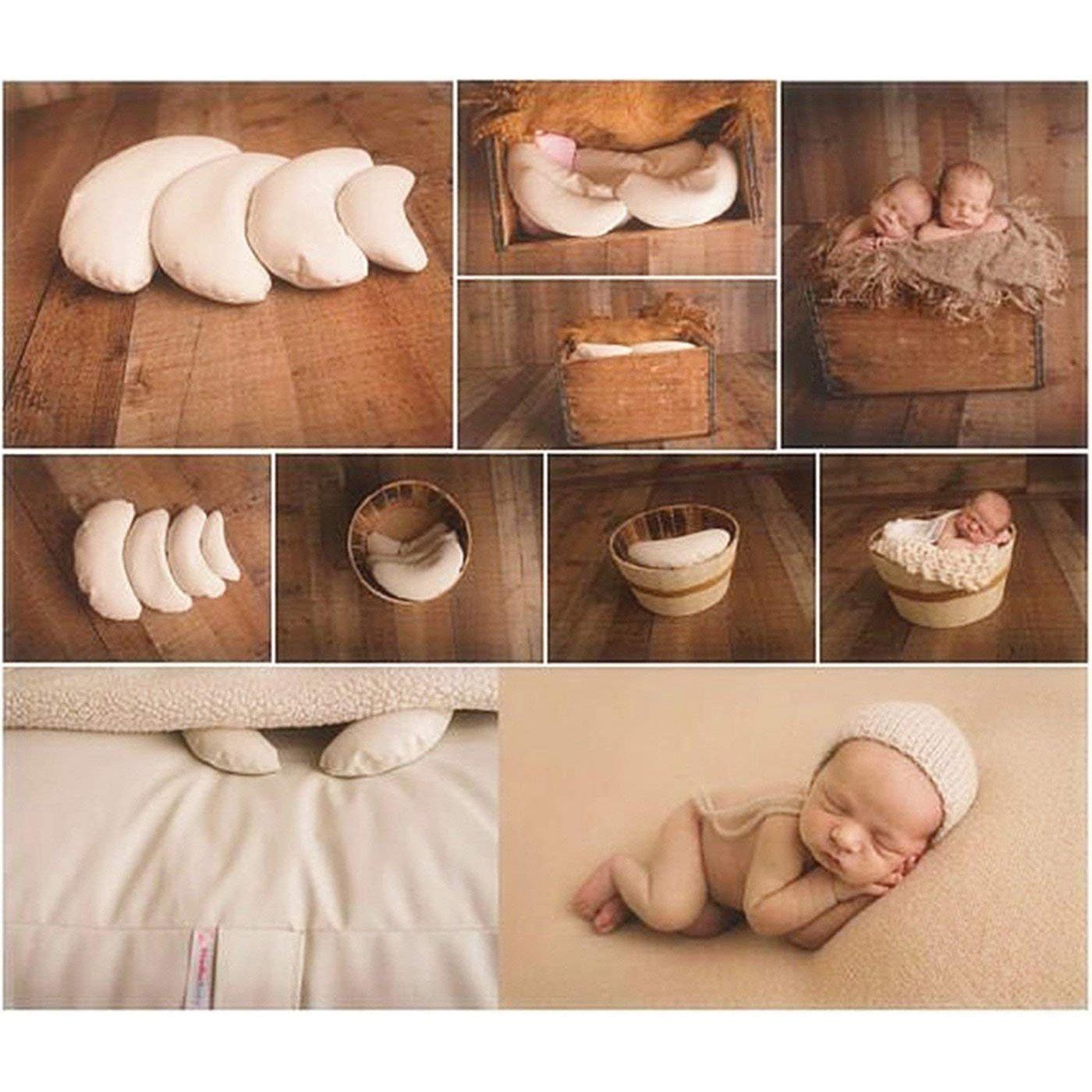 TOOGOO 3 x Neugeborenen Baby Fotografie Requisiten Crescent Posing Kissen Korb Fuellstoff Seide Requisiten Braun