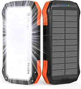 Solar Charger Power Bank 20100mAh : WBPINE Portable Charger USB C Solar Phone Charger Battery Pack Waterproof with 2 USB Outputs Flashlight Compatible with iPhone | Tablets | Android Cell Phone