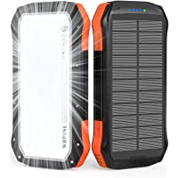 Solar Power Bank, Portable Charger 20,100mAh External Battery Pack 2 USB Output Ports with Flashlight Compatible with…