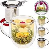 Teabloom Double Wall Glass Mug with Infuser & Lid +2 Gourmet Tea Flowers - 15 oz Tea Mug - Lid Doubles as Coaster – Adorable Gift Set for Tea Lovers -