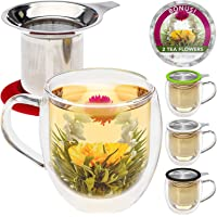 Taza de té de cristal doble con infusor