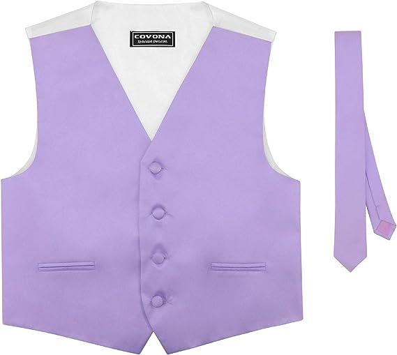BOYS Dress Vest /& NeckTie Solid BLACK Color Neck Tie Set