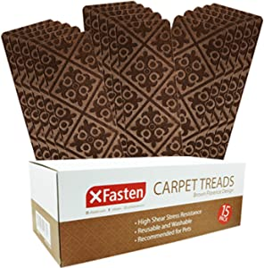 XFasten Nonslip Carpet Stair Step Treads for Wooden Stairs, Brown, Florence Design- Set of 15- Indoor Stair Rug Runners with Nonskid Silicone Base, Washable and Easy to Vacuum
