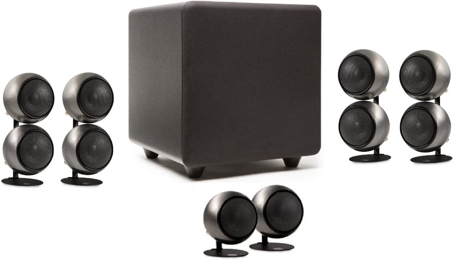 Orb Audio 5.1 Home Theater Speaker System (Mod2X and subONE) in Hand Polished Steel