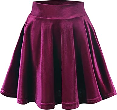 FISOUL Mini Falda Elástica Patinadora de Terciopelo de Retro ...