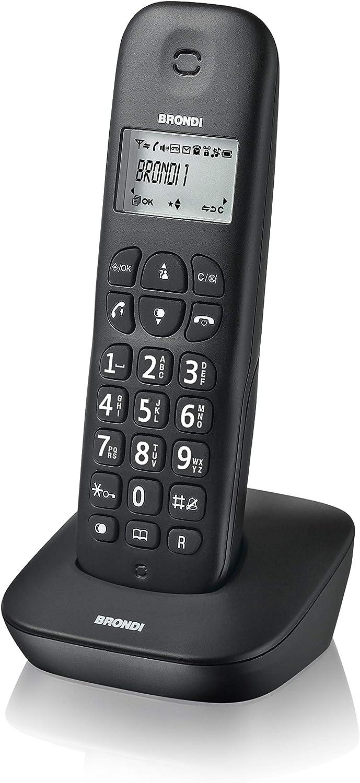 Brondi GALA - Teléfono (Teléfono DECT, Terminal inalámbrico, 20 entradas, Identificador de llamadas, Negro): Amazon.es: Electrónica