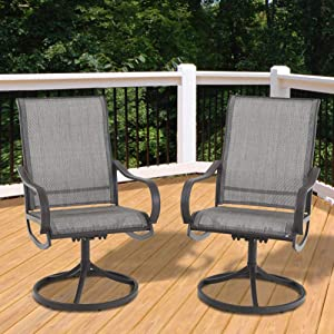 PHI VILLA Patio Swivel Rocker Chair Outdoor Kitchen Garden Dinning Chair Patio Furniture Bistro Set, 2 PCs, Grey