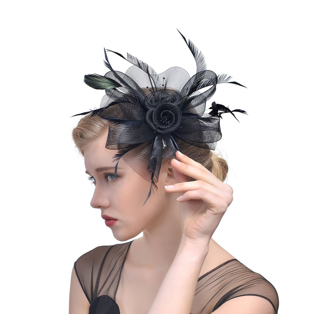 Lanzom Girls Lady Women Fascinators Hat Flower Feathers Hair Clip Tea Party Headband Kentucky Derby Wedding Cocktail Headwear (Style B-Black) by Lanzom